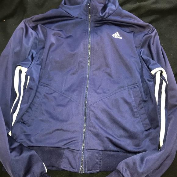 Adidas Jacket Parka Coat Anorak Ski Jacket Striped Navy Blue